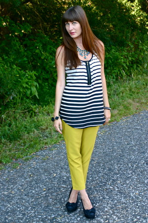 light yellow Forever 21 pants - turquoise blue hm necklace
