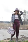 Light-purple-goodwill-thrifted-hat-light-brown-combat-style-younkers-boots