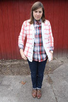 green thrifted shirt - burnt orange tan booties Bg boots