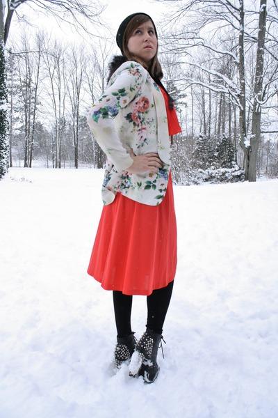 coral vintage dress vintage dress - black spike lita Jeffrey Campbell boots