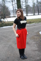 vintage wool Pendelton skirt - knee high boots Carlos Santana boots
