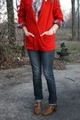 Red-red-long-blazer-thrifted-vintage-blazer-bronze-pubin-steve-madden-boots