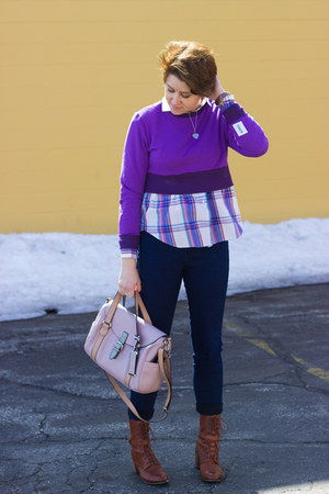 purple cropped purple TENDEN sweatshirt - navy easy jean American Apparel jeans
