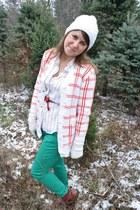 white vintage shirt - tawny Bg boots - ruby red vintage cardigan