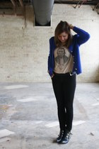 blue vintage jacket - black thrifted boots - black Paige Denim pants