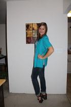 brown patent Michael Kors heels - jeans second hand jeans - vintage blazer