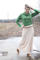 tan maxi skirt thrifted skirt - tawny studded booties Steve Madden boots