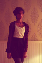 black H&M skirt - heather gray delias tights - black Forever 21 socks