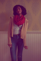 camel aeropostlae cardigan - navy H&M shirt - ruby red gift scarf