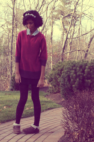 magenta H&M sweater - dark brown DSW boots - white DIY hat - black delias tights