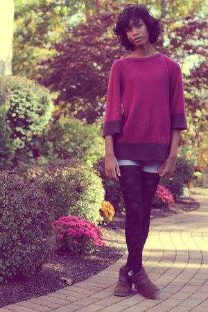 DSW boots - H&amp;M sweater - delias tights - DIY shorts