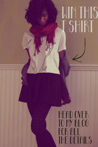 white WhoopTee t-shirt - black delias tights - ruby red gifted scarf