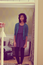 navy gifted dress - teal delias cardigan
