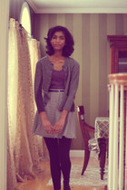 gray banana republic cardigan - black Target leggings - amethyst delias shirt