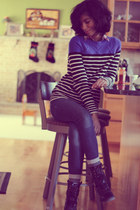 blue gift sweater - black gift boots - navy Pac Sun jeans - red Forever 21 shirt