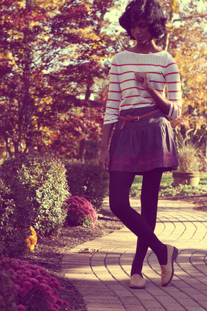 H&amp;M tights - Lord and Taylor shirt - American Eagle skirt - thrifted loafers