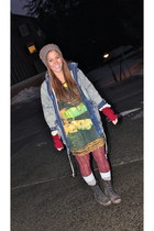 acid wash vintage jacket - military boots Steve Madden boots - Motel Rocks dress