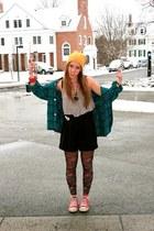 vintage shirt - floral free people tights - overalls vintage ebay romper