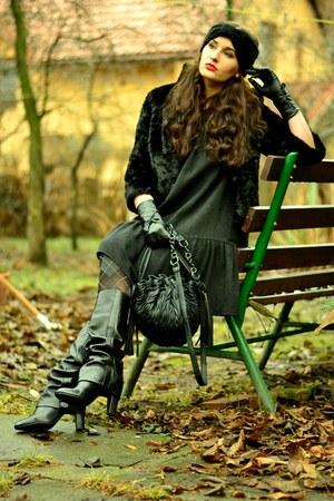 Zara boots - Zara dress - H&M jacket - reserved bag