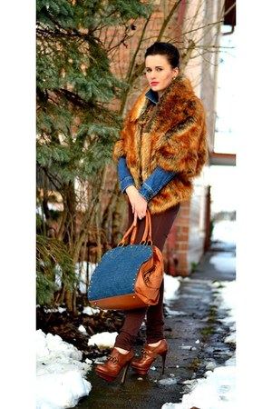 asos boots - Stradivarius jacket - faux fur asos jacket - Stradivarius bag