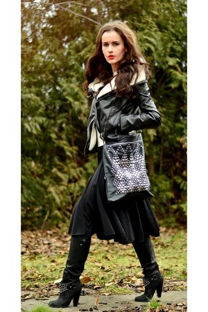 H&M jacket - Zara boots - reserved bag - gianni rodini skirt