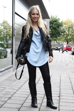 Zara blouse - zara exclusive jacket - Ebay leggings - Mexx boots - River Island