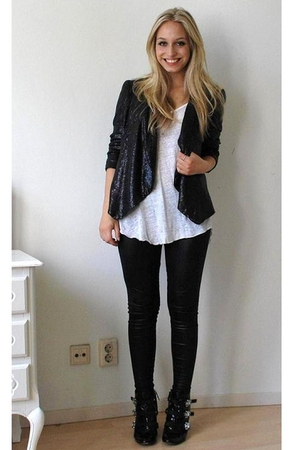 black sequin blazer Zara blazer - black DSquared shoes - black Ebay leggings
