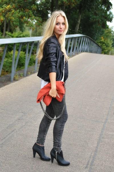 black H&M shoes - gray leggings pieces jeans - black sequin Zara blazer