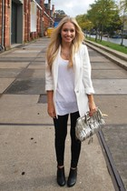 Zara blazer - Zara t-shirt - Ebay leggings - H&M boots - Guess accessories