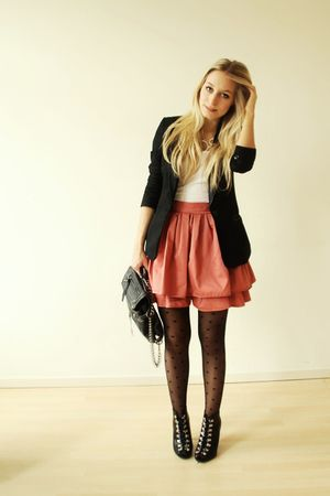 black H&M blazer - black lace ups H&M shoes - black heart tights Primark tights