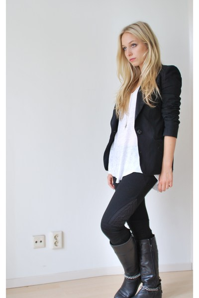 h&m pink label leggings - Zara t-shirt - H&M blazer - Mexx accessories - selfmad