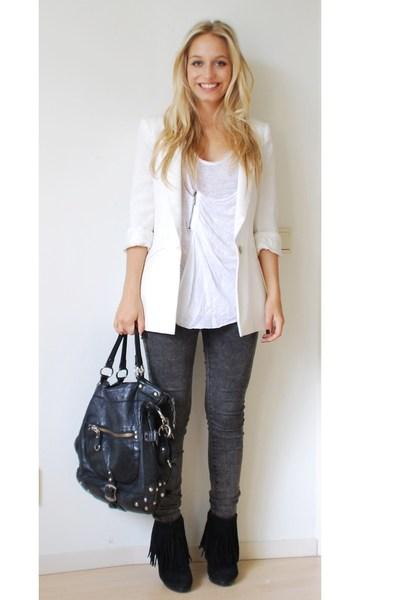 white off white Zara blazer - black fringe ankle Sasha boots