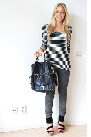 H&M t-shirt - pieces jeans - Ibana Rouge accessories - Zara shoes