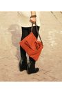Pink-h-m-dress-black-minimarket-boots-orange-zara-accessories