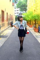 boots - dress - Topshop top - - stockings - jacket