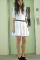 white local online boutique dress - black Local store shoes - black belt - black