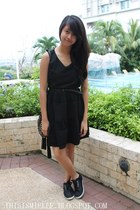 black soiree dress - black braided Forever 21 belt