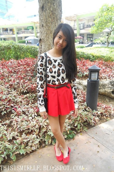 red Ayala skirt - leopard print Forever 21 sweater