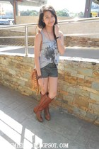 Forever 21 boots - Forever 21 shorts - cotton gray Plains and Prints top