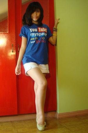 blue Parental Advisory t-shirt - white Urban Outfitters shorts - green Crocs sho