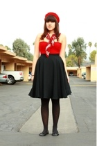 red Salvation Army hat - red American Apparel dress