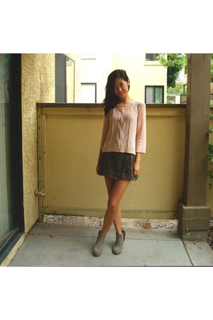 knit Forever21 sweater - suede Mossimo boots - floral brandy melville dress