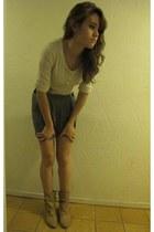 Mossimo boots - beige Liz Lander shirt - comfy Forever 21 skirt