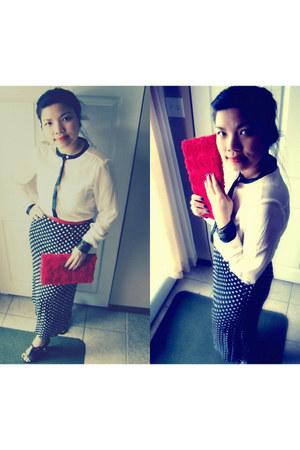 H&M blouse - romantic H&M bag - thrifted vintage belt - Wittner heels