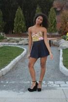 light pink motelrocks bodysuit - navy circle American Apparel skirt