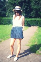 beige Miss Selfridge hat - blue Nom De Plume YaYa  Urban Outfitters jumper - whi