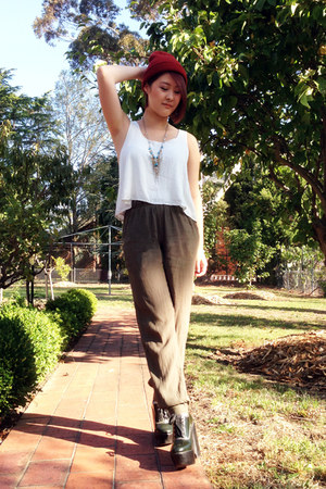 burnt orange Industrie hat - army green bardot pants