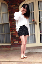 shorts - blouse - leather Steve Madden flats