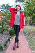 red adidas jacket - brick red tardy Jeffrey Campbell shoes