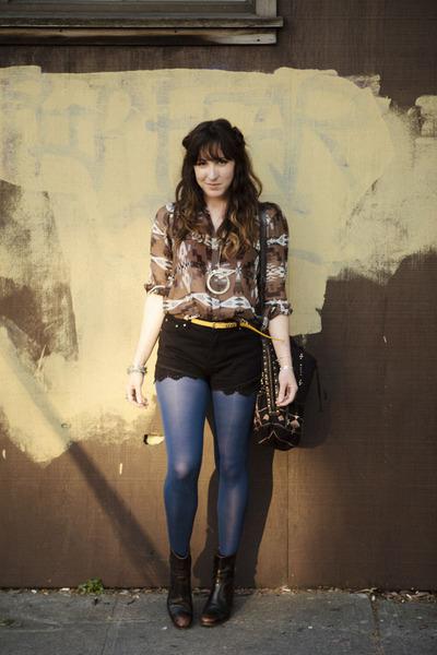 Azalea shorts - silk Dolce Vita blouse - free people necklace